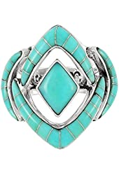 Turquoise Statement Ring in Sterling Silver 925 for Women Sizes 6 to 12