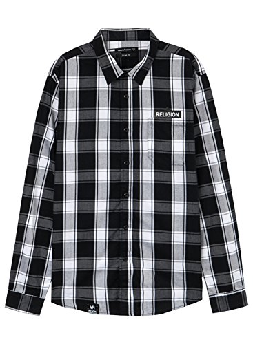 meters-bonwe-mens-plaid-long-sleeve-button-down-casual-shirt-black-l