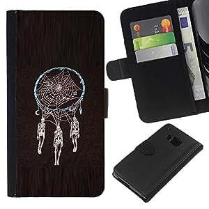 EJOY---La carpeta del tirón la caja de cuero de alta calidad de la PU Caso protector / HTC One M9 / --Colector ideal Esqueleto Negro Araña