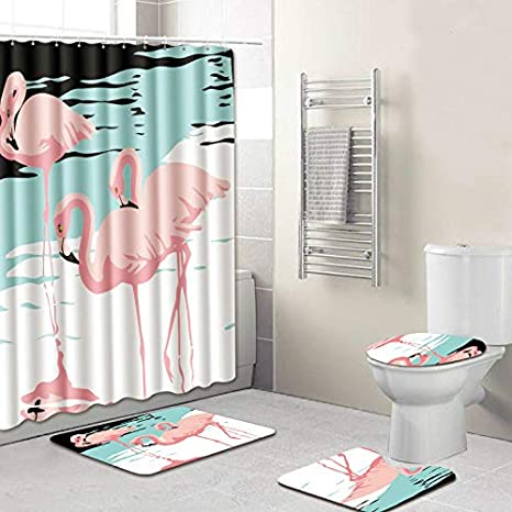 Amazon Flamingo Bathroom Set Shower Curtain