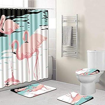 Amazoncom Flamingo Bathroom Set Shower Curtain Bath Rug Sets