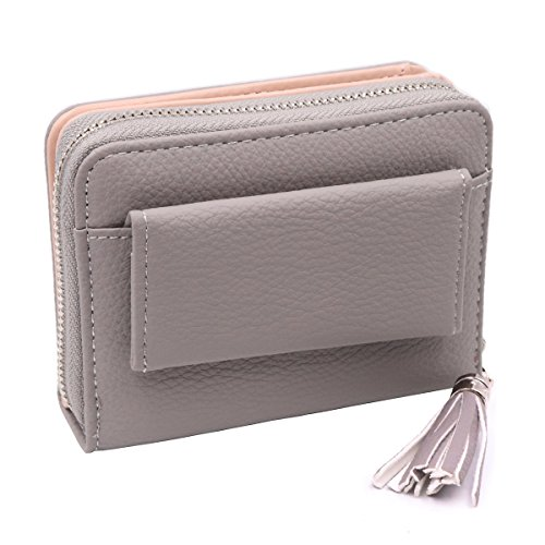 AISIKA Women's Wallet RFID Blocking PU Leather Small Zipper Purse with ID Window (Gray)