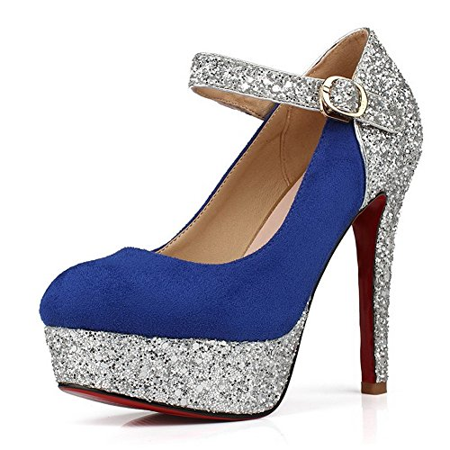 VogueZone009 Womens Closed Round Toe High Heel Platform Suede PU Frosted Solid Pumps with Buckle, Blue, 2.5 UK