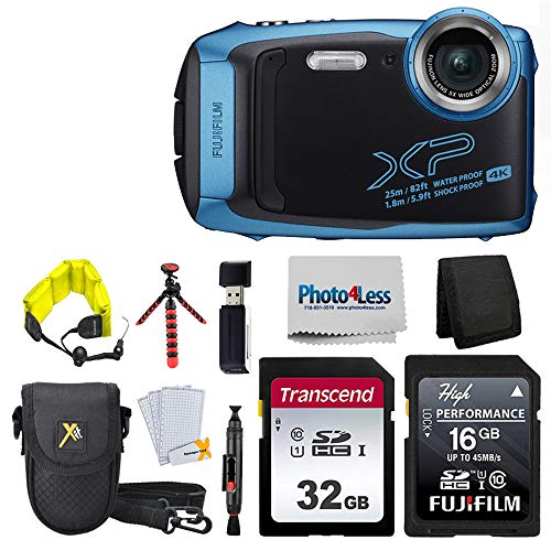 Fujifilm FinePix XP140 Digital Camera (Sky Blue) + 48GB SD Card + Floating Strap + Cleaning System + 12