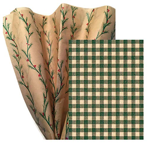 Gift WRAP Tissue Paper Bundle for Christmas, 24 Sheets, Large 20x30, Printed Decorative Tissue Paper for Gift Wrapping (2 Patterns: Pine BOUGHS & Gingham)