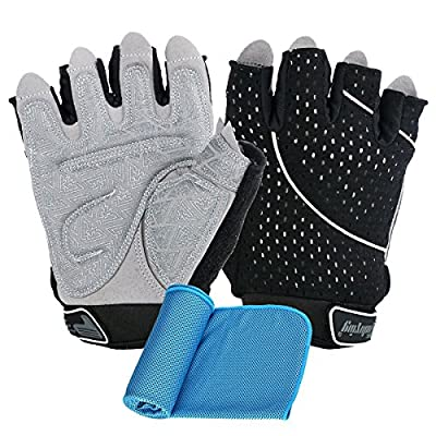 innotree Ultralight Weight Lifting Gloves for Men & Women, Breathable and Anti Slip Calluses Padded Workout Gloves for Weightlifting, Training, Fitness and Excercise + Cooling Towel for Sports