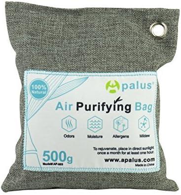 Apalus ® Bolsa de Carbón Activo De Bambú, Deshumidificador Y Purificador De Aire. Ambientador Natural Eficaz y Desodorante para Eliminar los Olores del Automóvil, Armarios,Baños,(500G)