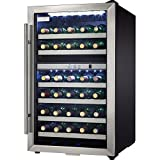 Danby DWC114BLSDD Designer 38-Bottle Dual-Zone Wine Cooler, Black/Stainless Steel/Glass