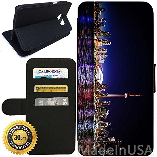 Flip Wallet Case for Galaxy S7 (Toronto Skyline Night) with Adjustable Stand and 3 Card Holders | Shock Protection | Lightweight | Includes Stylus Pen by - Store Toronto Glasses