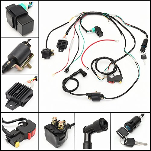Electric Start Engine Wiring Harness Loom for Motorcycle IT Quad Dirt Bike ATV Dune Buggy(Black):