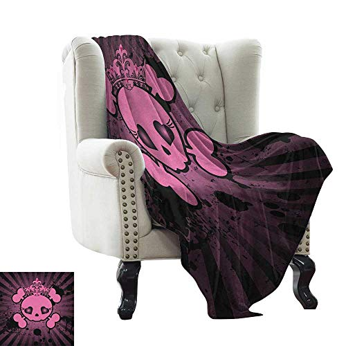 warmfamily Skull,Digital Printing Blanket,Cute Skull Illustration with Crown Dark Grunge Style Teen Spooky Halloween Print 70