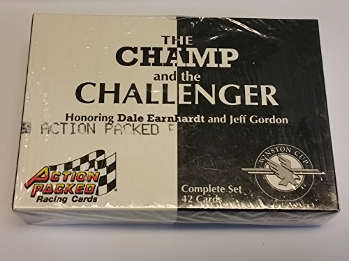 NASCSR Winston Cup Series 25th Anniversary Champions Tin- Limited Edition Fine Bronze Coin-The Champ and the Challenger Honoring Dale Earnhardt and Jeff Gordon complete Set 42 Cards Action Packed Racing Cards
