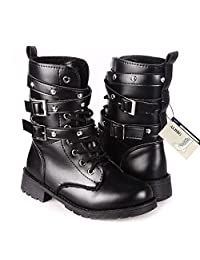 Women's Combat Low Martin Mid Calf Military Motorcycle Lace Up Leather Ladies Black Ankle Boots