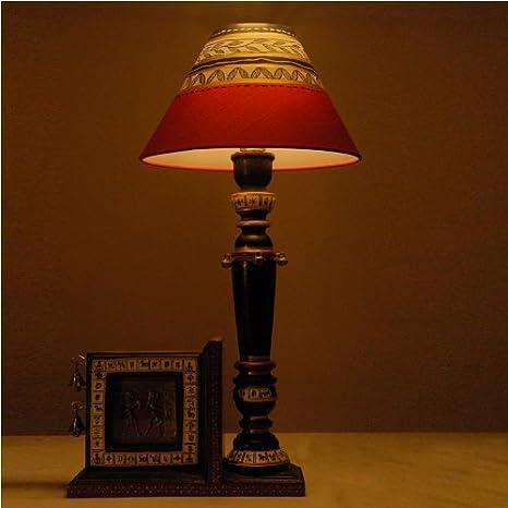 Desentrañar la India de madera antiguo lámpara de mesa con ...