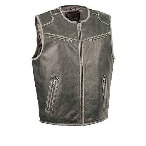(Milwaukee Leather Men's Vintage Zipper Front Vest-Distressed Gry-Large Grey)