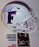 Tim Tebow Autographed Hand Signed Florida Gators White Speed Full Size Authentic Football Helmet - with 06, 08 Champs Inscriptions - PSA/DNA