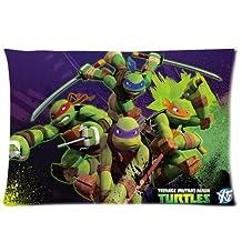 Custom TMNT Teenage Mutant Ninja Turtles Zippered Pillowcase Covers Standard Size 20x30 Inch (Two sides)