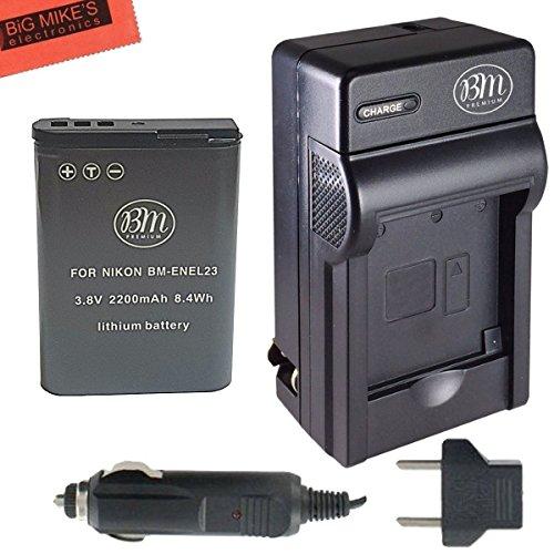 BM Premium EN-EL23 Battery and Charger for Nikon Coolpix B70