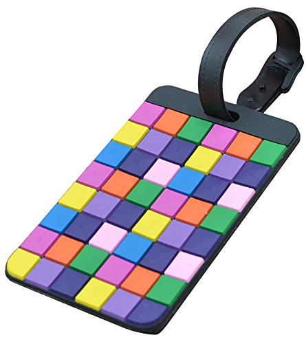 C Pioneer Colorful Tetris Pattern Rubber Id Tags Business Card