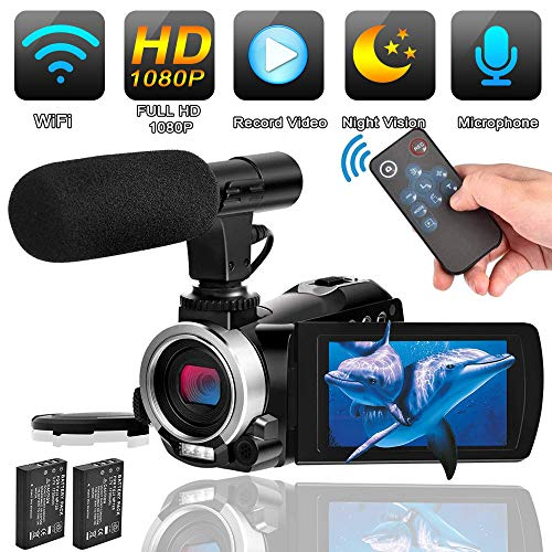 Camcorder Video Camera with Microphone Weton WiFi Vlogging Camera for YouTube Digital Camera Recorder Full HD 1080P 24.0MP 30FPS IR Night Vision Camera 16X Digital Zoom with 2 Batteries and HDMI Cable from Weton