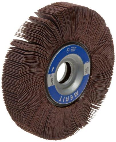 Merit Grind-O-Flex Abrasive Flap Wheel, 1'' Arbor, Round Hole, Ceramic Aluminum Oxide, 6'' Dia., 1/2'' Face Width, Grit 180, 6000 Max RPM (Pack of 1) by Merit