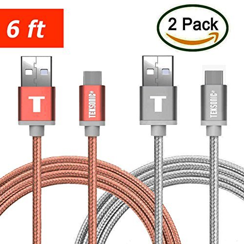 USB Type C, TekSonic   6.6 Ft/2M Extra Long Braided Cable wi