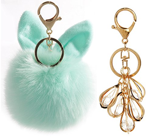 Keychains Fur Pom Pom Keychain Fuzzy for Car Wallet Key Ring Gold,Charm & Plush(Gold Lock) (Light Green(cute)+ Beatiful (Gold Car Charm)