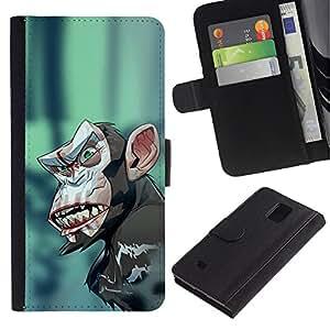 LECELL--Cuero de la tarjeta la carpeta del tirón Smartphone Slots Protección Holder For Samsung Galaxy Note 4 IV -- Mal Crazy Monkey Chimp --