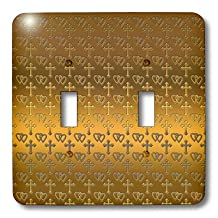 3dRose lsp_35988_2 Small Gold Entwined Hearts and Cross on a Bright Brass Background. Double Toggle Switch
