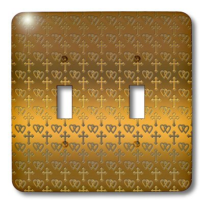 - 3dRose lsp_35988_2 Small Gold Entwined Hearts and Cross on a Bright Brass Background. Double Toggle Switch