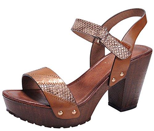 Nature Breeze Women's Snake Print Embossed Strappy Chunky Platform Heel Sandal (8.5 B(M) US, Tan (Wooden Platform Sandals)