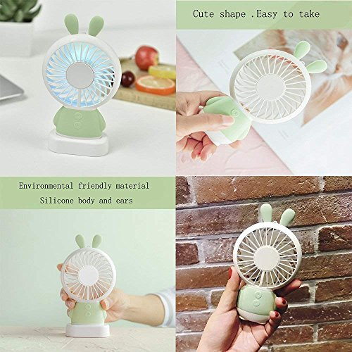 RingRingshop®® Handheld Small Fan Portable Rechargeable Mini Cooling Fan Multi-color LED Light Linglong rabbit Fan Standable Hanging Fan Gifts for Home Travel Indoor Outdoor Baby Kids (Green Rabbit) by RingRingshop® (Image #8)