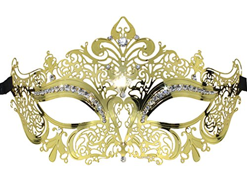 [Coxeer Crown Laser Cut Metal Women's Masquerade Mask Mardi Gras Mask (Gold)] (Masquerade Masks Metal)
