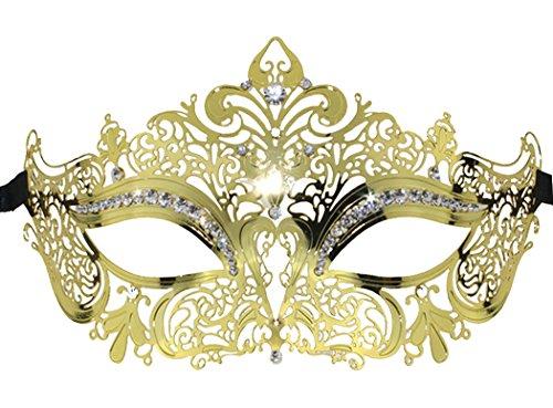 Coxeer Crown Laser Cut Metal Women's Masquerade Mask Mardi Gras Mask (Gold) (Gold Mardi Gras Mask)