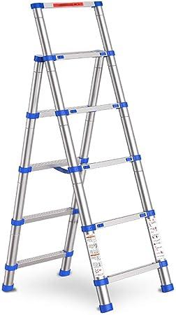 LPZ Escalera de Tijera Escalera telescópica Multifunción Aleación de Aluminio Sin deformación Un botón Encoger Azul Expandir Altura 165 cm: Amazon.es: Hogar
