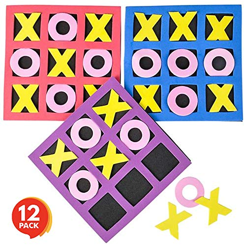 Gamie Small Foam Tic-Tac-Toe Game Set (Pack of 12) | Foam Pieces and Boards | Unique School and Carnival Party Favors -