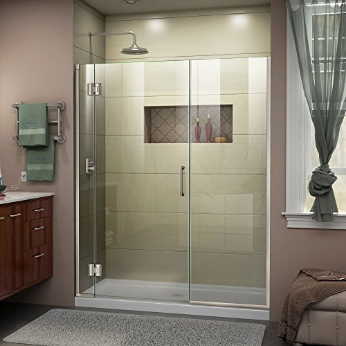 DreamLine Unidoor-X 62 1/2-63 in. Width, Frameless Hinged Shower Door, 3/8'' Glass, Brushed Nickel Finish by DreamLine