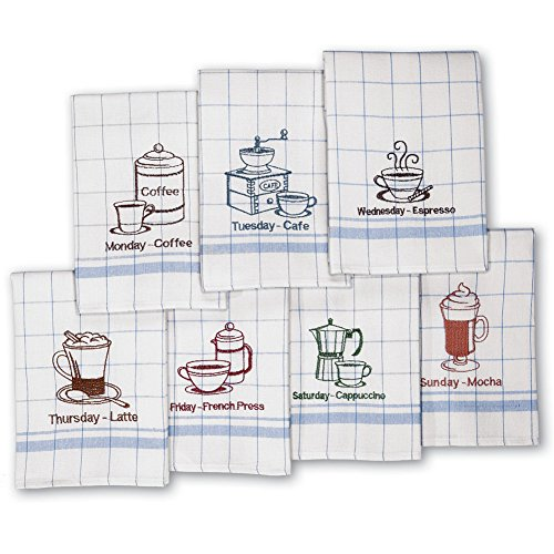 Days of The Week Vintage Style Cafe Coffee Dish Towels Set, 7 Pc