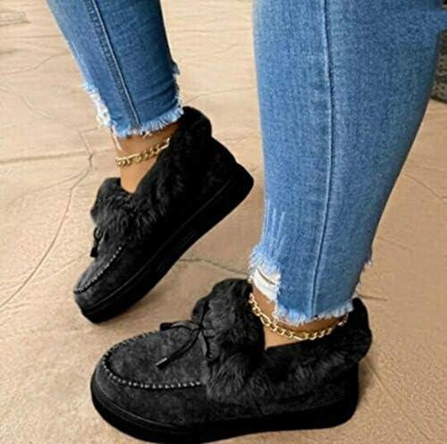 FHLZ Snow Boots for Women Anti-Slip Ankle Cotton Warm Booties Lace Up Platform Shoes