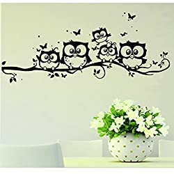 Witspace Home Decal Wall Art Kids Vinyl Art Cartoon Owl Butterfly Wall Sticker Decor Home Decal Removable Wall Art Home Decors