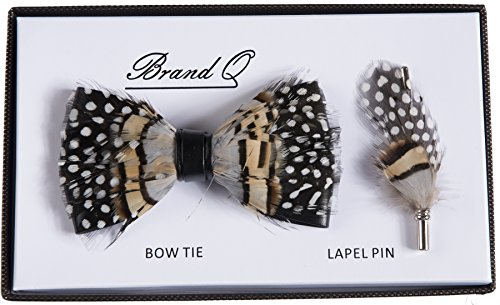 Adults Novelty Fashion Feather Bow Ties with Adjustable Neck Strap and Matching Lapel Pin (Brown and Black with White Dots) (Formal Pin Dot)