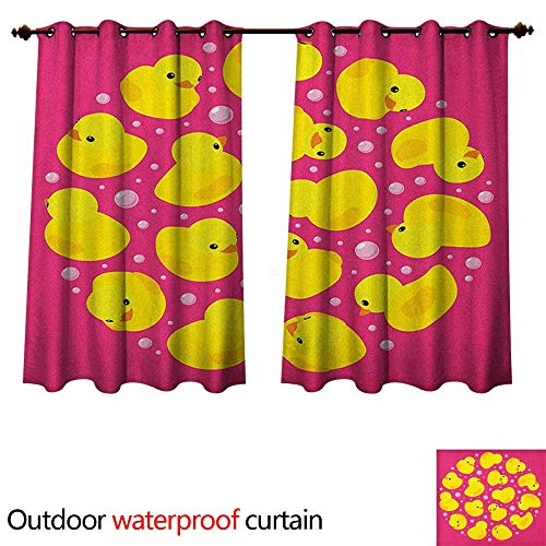 Rubber Duck Outdoor Curtain for Patio Fun Baby Duckies Circle Artsy Pattern Kids Bath Toys Bubbles Animal Print W72 x L63(183cm x 160cm)