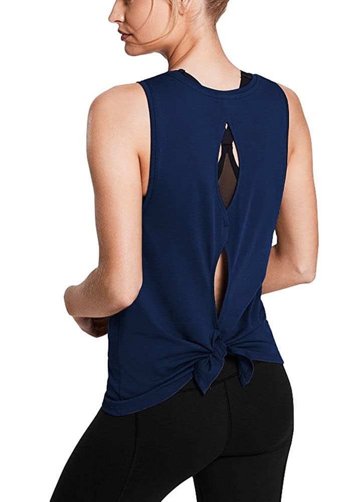 5695031ae6 Unique sexy backless design: open back cut out with keyhole, can be  knotted, offer you an awesome look and charming back. Perfect athletic tops  for women: ...
