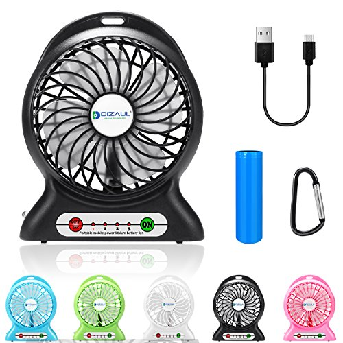dizauL Portable Fan, Mini USB Rechargeable Fan with 2600mAh Battery Operated and Flash Light,for Traveling,Fishing,Camping,Hiking,Backpacking,BBQ,Baby Stroller,Picnic,Biking,Boating (Black) (O Air Mp3)