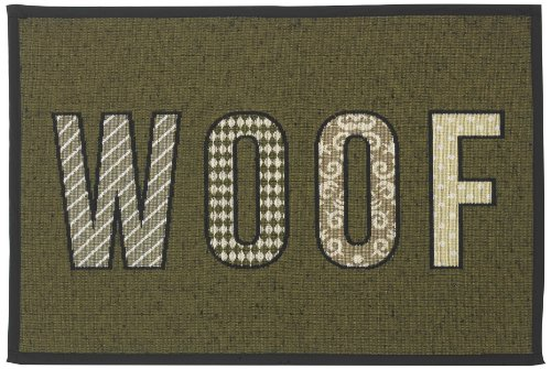 Dog Dish Woof - PetRageous Designed Tapestry Placemat for Pet Feeding Station, 13-Inch by 19-Inch, WOOF, Olive/Black