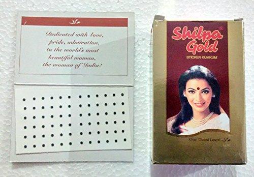 Shilpa Gold Sticker Kumkum Black Bindi  Size Dr 9