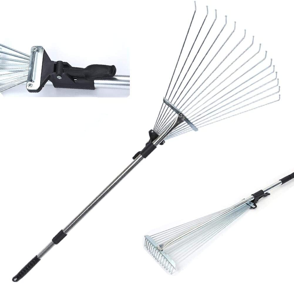 sunflowerany Garden Leaf Rake,Grass Rake For Lawn,Adjustable Lawn Grass Rake With 15 Teeth For Grass Cleaning Fallen Leaves Weeds 30-65 Inch Adjustable Gardening Tools Length 166cm