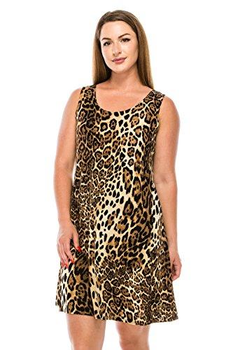 Jostar Women's Stretchy Missy Tank Dress Print Large Brown Animal]()