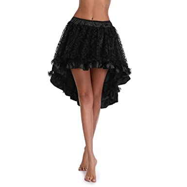 f9afa8cb9c3a HEYME High Low Skirt Black Steampunk Cocktail Party Gothic Skirts for Women   Amazon.co.uk  Clothing