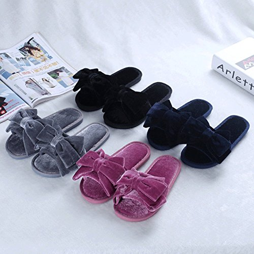 LINGMIN Comfort Womens Velvet Cute Bowtie Decorate Non-Slip Slippers Grey qhvnFRJ